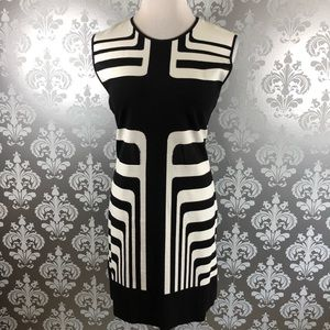 RVN Sheer Stripe Sleeveless A-Line Dress Size L